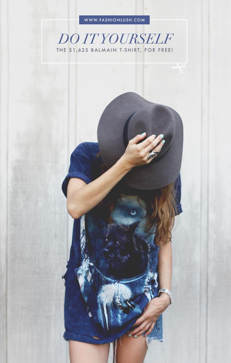 7c0a5fceec076 fashionlush, diy distressed t-shirt, diy balmain shirt