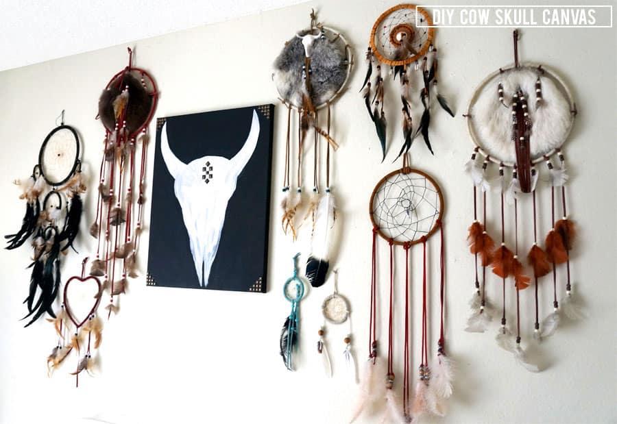 Diy Home Decor Cow Skull Canvas