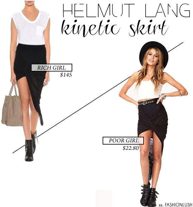 8119656e82 Rich Girl/ Poor Girl: Helmut Lang Asymmetrical Jersey Skirt