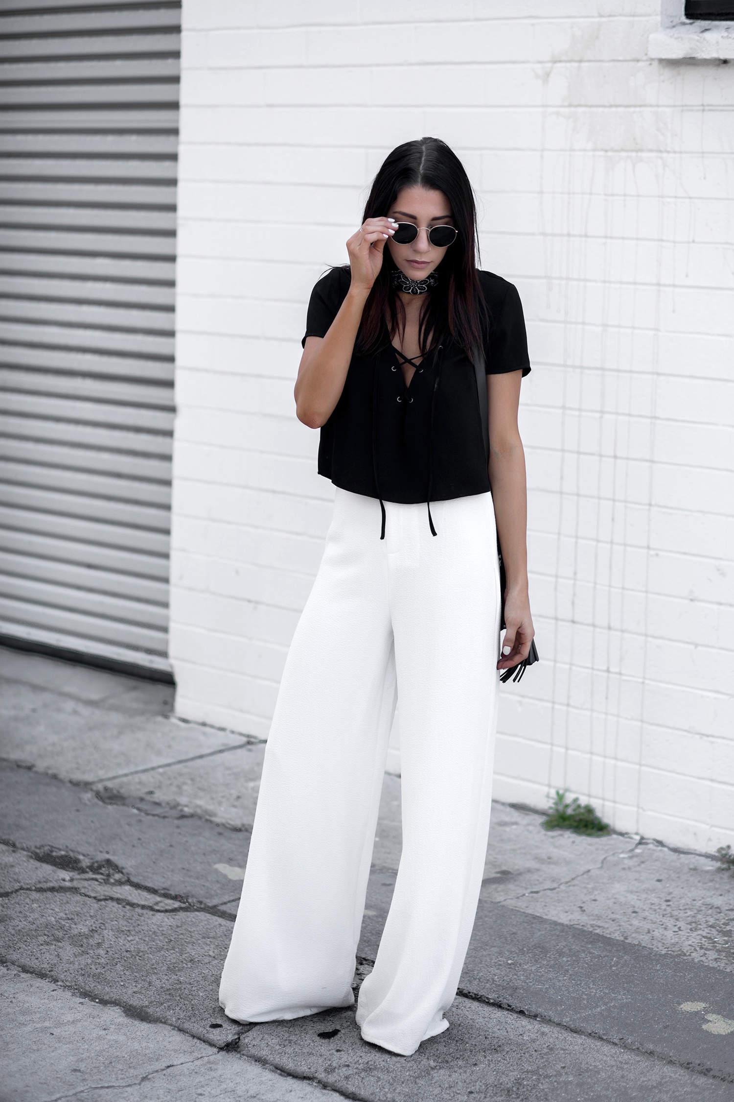 fashionlush, black and white, wide leg trousers