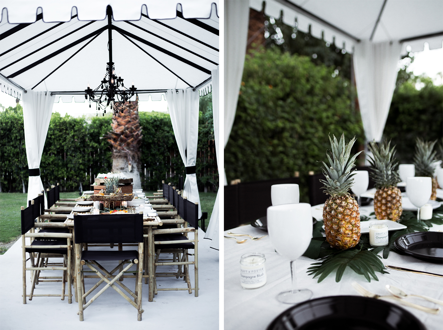 fashion blogger, chic dinner party decor