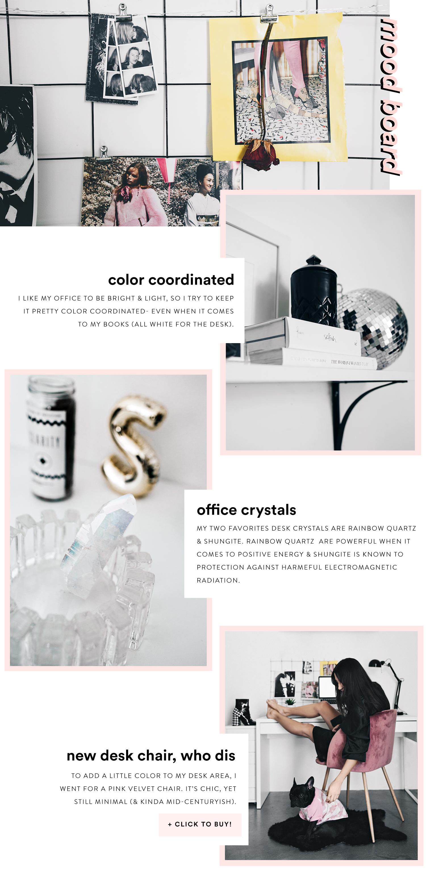 office feng shui tips. Shop: Black Grid Mood Board | Rainbow Quartz Shungite Pyramid Pink Velvet Desk Chair. Fashionlush How To Feng Shui Office Tips R