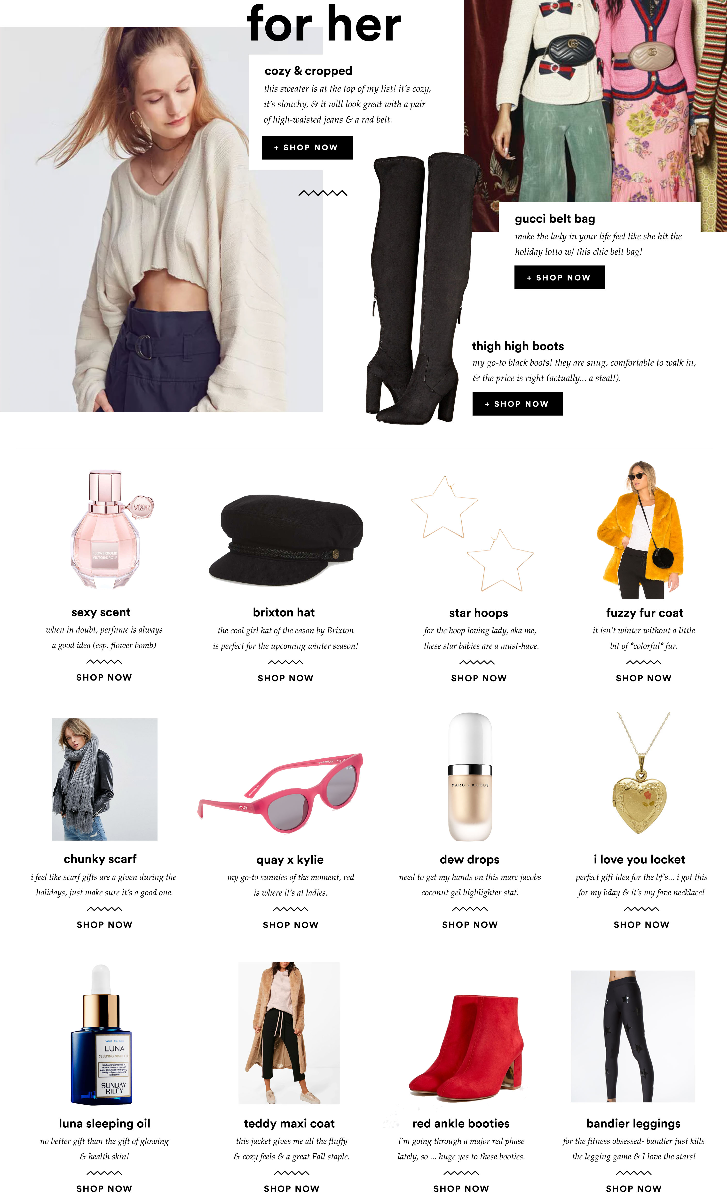 fashionlush, gift guide 2017, gifts for her