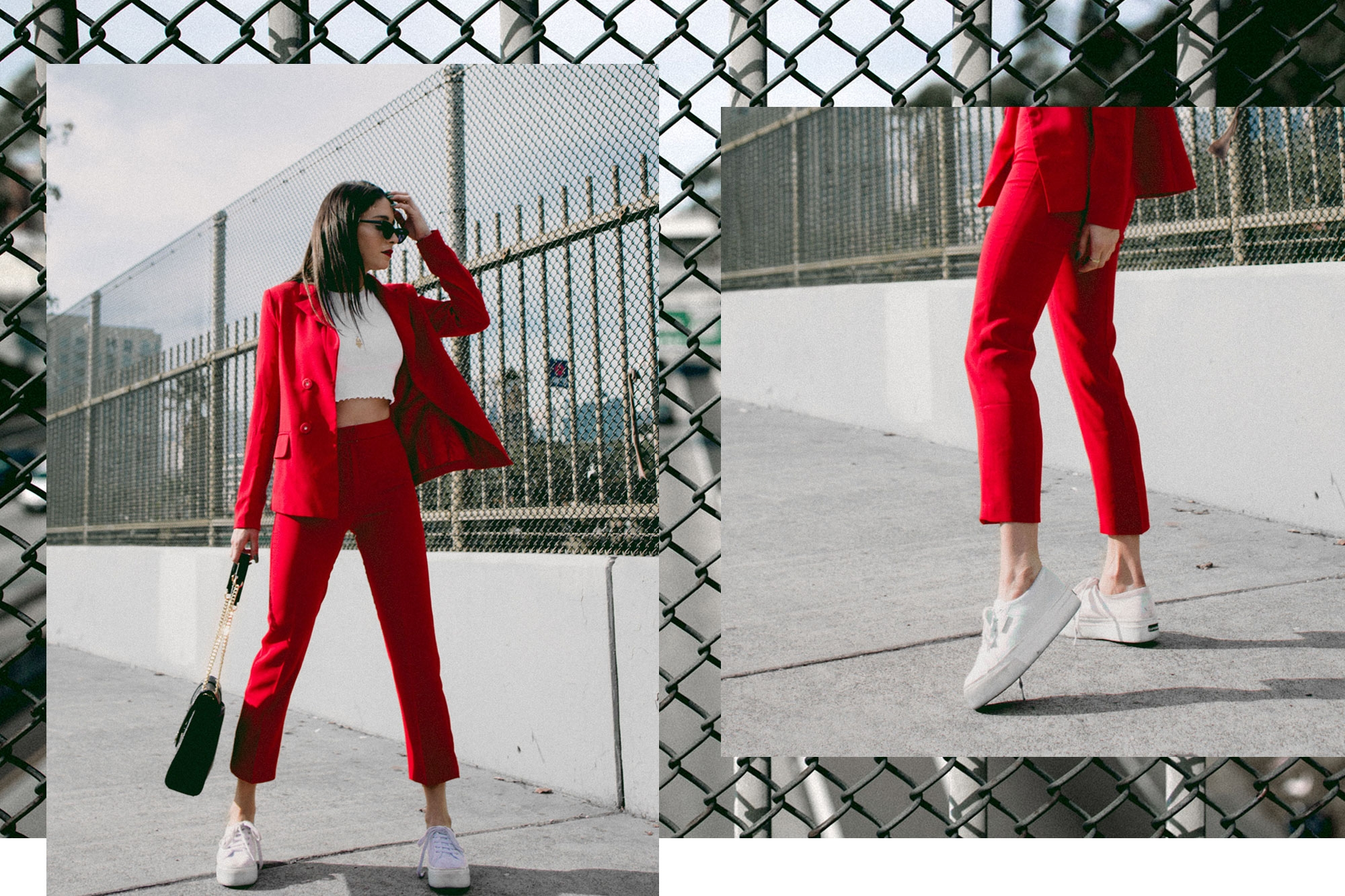 fashionlush, red suit street style